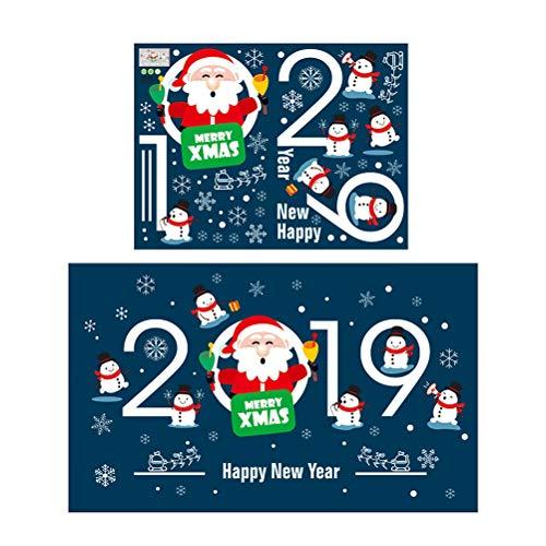 ten Fenster Aufkleber Wandtattoo Weihnachten Fenster klammert Sich Urlaub Party Gunst Weihnachten Weihnachtsmann 2019 Frohe Weihnachten Muster ()