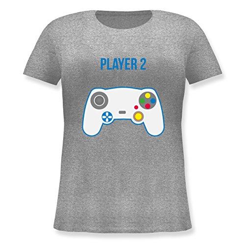 Partner-Look Familie Mama - Player 2 - Lockeres Damen-Shirt in Großen Größen mit Rundhalsausschnitt Grau Meliert