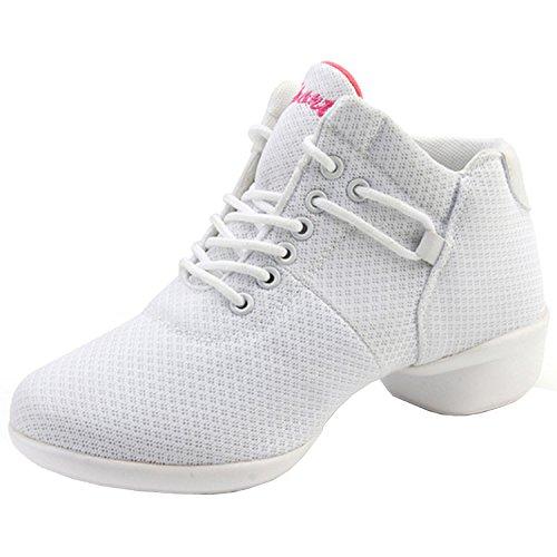 Respirável Malha Lace-up Suaves Únicos Sapatos De Dança Oasap De Mulheres Brancas