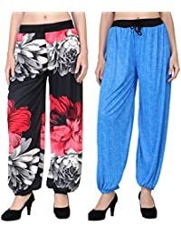 Adonia Women's Poly-Knit Lycra Printed Harem Pants ( Combo Of 2 ) - B0751GD71W
