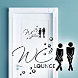 Wandaro W3331 Wandtattoo WC Aufkleber Mann/Frau WC Lounge I Schwarz 27 x 16 cm I Bad Piktogramm Wandsticker Badezimmer Wandaufkleber