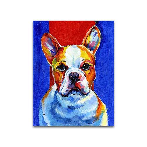 mmzki Wandkunst Bild Leinwanddruck ölgemälde Tier Welpen Bulldog Bild Für Wohnzimmer Wohnkultur60X80CM