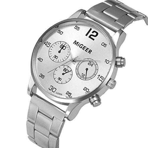 saihui Art und Weise Mann-Kristall-Edelstahl-analoge Quarz-Armbanduhr-Geschäfts-Mann-Uhr Beiläufige Art- und Weiseuhr-Männer Edelstahl-Armband-Mann-Uhr-Männer Wasserdichte Uhr-Männer Uhr (Weiß)