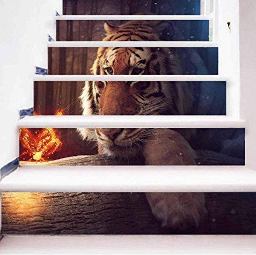 TIEZHI 3D Tiger DIY Treppe Aufkleber Wasserdicht Kombination HD Wandgemälde Haus Dekoration Wandtattoos, 1 Set 6 pcs, 100 * 18cm Tiger Wallpaper Set