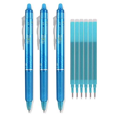 Pilot Frixion Clicker 223101201Gel Tinte Stifte, radierbare, feine Spitze 0,7mm, Türkis Tinte, 3Stück mit Bonus Ersatzminen (Stifte Mit Tinte Türkis)