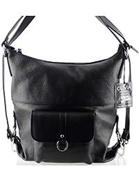 Olivia - 2 EN 1 Sac à main Sac àdos en cuir de vachette N1267 Noir Achat/cadeau utile