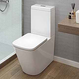 iBathUK | Modern Bathroom White Gloss Close Coupled Toilet Cistern Pan + Seat