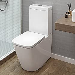 iBathUK Modern Bathroom White Gloss Close Coupled Toilet Cistern Pan + Seat