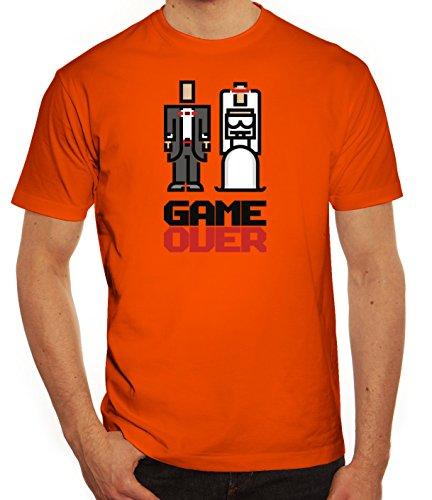 Junggesellenabschieds JGA Hochzeit Herren T-Shirt Married Couple Pixel Game  Over Orange