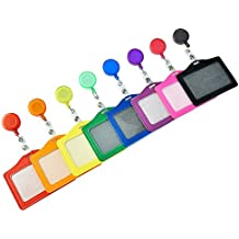 Retractable Badge Reels with ID Card Holder Sleeves for Cards and Keys, 8 Pieces