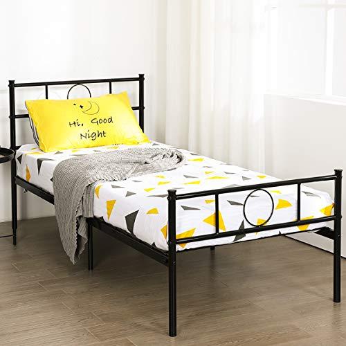 Aingoo Lit Simple en Métal Design 1 Place Cadre de Structure Métallique Comfort pour Enfant 90x190cm, Noir