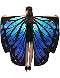 SALUCIA Damen Doppelseitig Schmetterling Kostüm Erwachsene Schmetterlingsflügel Umhang Cape Stola Poncho Faschingkostüme für Karneval Fasching Cosplay Party