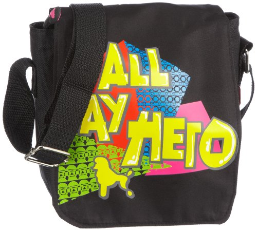 Poodlebags young Art - slogan - ritsch ratsch small Hero - 3YA0312RRSHERB, Unisex - Kinder Messengerbags, Schwarz (black), 17 x 6 x 19 cm (B x H x T) Schwarz (black)