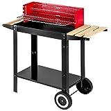 TecTake BBQ grill con carrello griglia a carbonella 86x34x80cm | mobile su due ruote | manico in legno