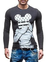 BOLF Hombre Sudadera Sin Capucha y Con Impresion Like Mickey Mouse Cuello Redondo Camiseta Manga Larga SPORT LIVE 0400