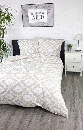 jilda-tex Seersucker Bettwäsche Ornamentic Ikat 135x200 cm 100% Baumwolle Sommerbettwäsche verschiedene Größen und Farben (Beige, 135 x 200 cm)