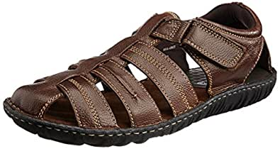 Hush Puppies Men's Hm-Fisherman Brown Leather Athletic and Outdoor Sandals - 7 UK/India (41 EU)(8644902)