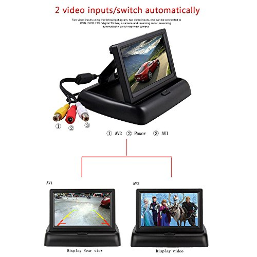 Rückfahrkamera Podofo® 4.3″ Faltbarer Drahtloser Auto Rückansicht TFT LCD Monitor mit wasserdichter Nachtsicht Parken Rückfahrkamera Installationssatz - 7