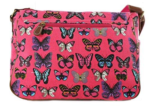 Miss Lulu tela gufo, farfalla, elefante, cavallo, cupcake pattern design Satchel saddle messenger a tracolla in tela cerata e Butterfly Plum (Canvas)