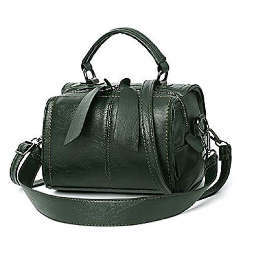 Hunter na Damen Zipper Top Handle Tasche wasserdicht PU (Polyurethan) Solid Color Dark Green/Camel, Dunkles Grün -