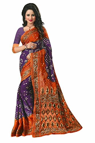 Vivera Women's bandhni Saree with Blouse piece(VRBADHANI2_6x20ii)  available at amazon for Rs.399
