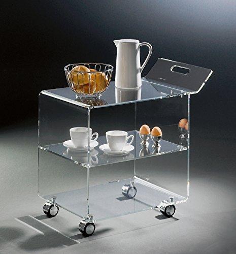 Hochwertiger Acryl-Glas Servierwagen / Teewagen mit 4 Chromrollen, klar, 63 x 38 cm, H 59 cm, Acryl-Glas-Stärke 8 mm