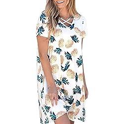 Vestidos Mujer Verano 2018,Moda mujer ocasional piña impresión O-cuello manga corta mini vestido de bolsillo LMMVP (Blanco, M)