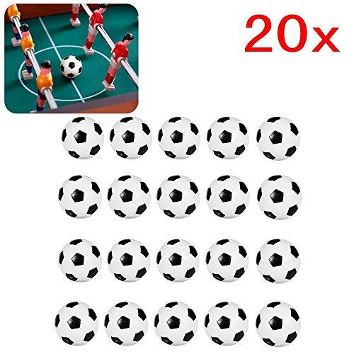 JZK 20 Palline calcio balilla 32 mm stile calcio classico bianco & nero di plastica mini piccole palle ricambio per calcio balilla per bambini adulti accessorio per gioco tavola biliardino