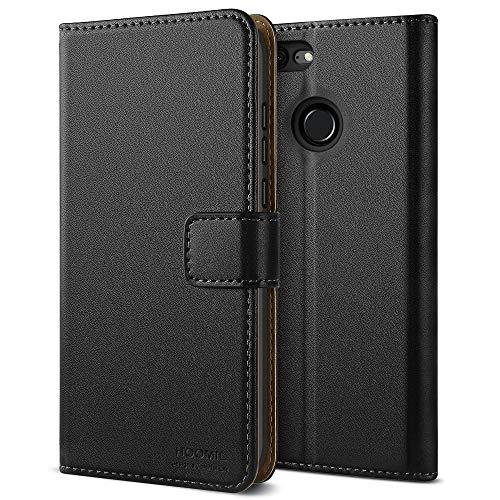 HOOMIL Honor 9 Lite Hülle Leder Flip Case Handyhülle für Huawei Honor 9 Lite Tasche Brieftasche Schutzhülle - Schwarz (H3277)