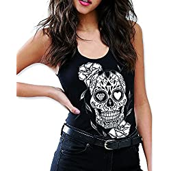 VIENTO Mexican Camiseta de Tirantes para Mujer (Negro, S)