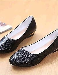 ZQ YYZ Zapatos de mujer-Tac¨®n Plano-Comfort / Puntiagudos-Planos-Exterior / Casual-Semicuero-Negro / Azul / Rosa...