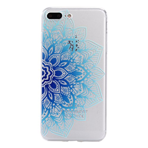 Ecoway TPU Funda Case for iPhone 7 Plus (5,5 zoll) , Ultra Thin Carcasa Anti Slip Soft Bumper Scratch Resistant Back Cover Crystal Clear Flexible Silicone Case Parachoques Carcasa Funda Bumper - Flores azules mitad