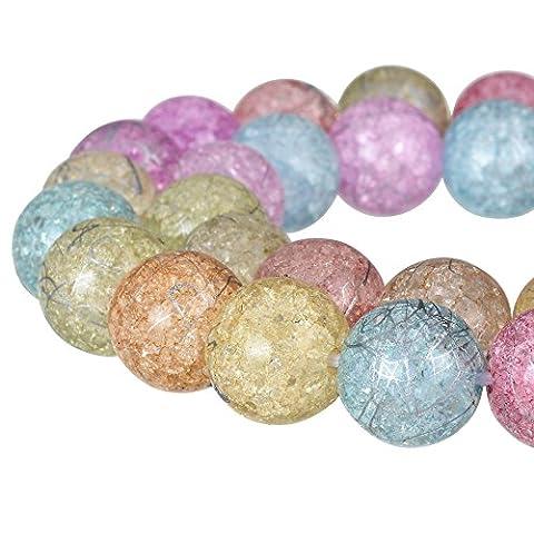 Rubyca rond craquelé druk Cristal Tchèque pressé Perles de verre pour fabrication de bijoux, Mèche, Cristal, pastel, 10 mm