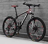 JFSKD Bicicleta de montaña para Adultos 26 Pulgadas 21/24/27/30 Disco de Aceite de Velocidad una Rueda Bicicleta de Velocidad Fuera de Carretera para Estudiantes Masculinos,10blackred,27