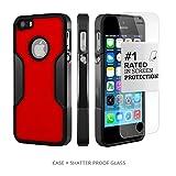 Coque iPhone 5 SE 5s, (Noir, Rouge) SaharaCase® + [film protecteur ZeroDamage en verre trempé] kit de protection accompagné d'un et d'une protection de saisie antidérapante [antichocs] avec une coupe ajustée