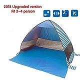 Tragbares Pop-Up Strand Zelt,UV 3-4 Person Faltbarer Sonnenschutz Wasserdicht Automatisch Sofort Familie Backpacking Wandern Camping Zelt Outdoor Baldachin Cabana Zelte mit Tragetasche(blau)(Style-A)