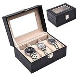 Discountoase Uhrenkoffer Uhrenbox Schaukasten Uhrenkasten Uhrenvitrine für 3 Uhren Leder-Look Echtglas-Fenster