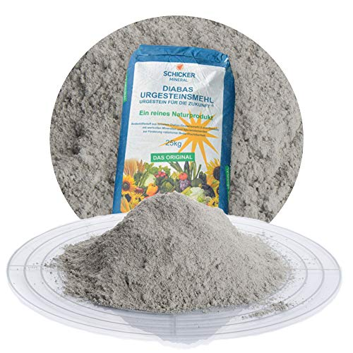 Schicker Mineral Diabas Urgesteinsmehl 25 kg feinstes Gesteinsmehl/reines Naturprodukt ohne weitere Zusätze/Bodenhilfsstoff - Mineral Eisen