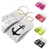 Schlüsselanhänger Mini Anker Farbwahl Wollfilz personalisiertes Geschenk klein kurz
