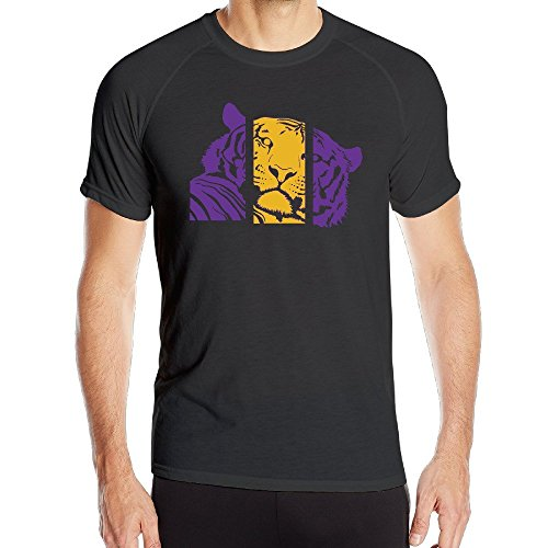T&Tat Men's LSU Purple And Gold Tiger Quick Dry Athletic Tshirt Medium (Tiger Athletic T-shirt)