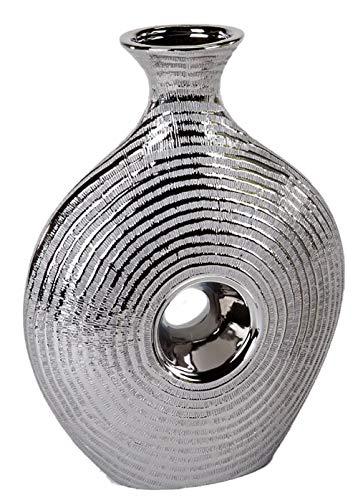Formano 773623 edle Blumenvase Dekovase Tischvase Keramikvase mit Silberstreifen 25 cm   Moderne Designer-Vase mit Edler Relifierung