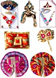 Nirmal Laddu Gopal Shringar Set From The House Of Nirmal Mukut Shringar, Nathdwara. All The Items Are For The Laddu Gopal Size 1 (Height: 2 Inches)The Combo Consist Of1. Shringar Set (Mukut, Haar, ) X 22.Dress/ Poshak/ Vastra (Made Up Of Qual...