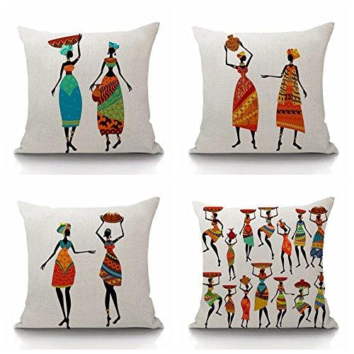 (Steven.Smith African Tribal Kultur Bunt Dancing Frauen Zahlen Baumwolle Leinen Afrika Original Frauen Life Überwurf Kissen Fall Stuhl Kissen Bezüge)
