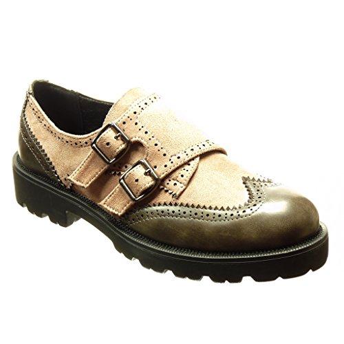 Blockabsatz 5 Schleife Schuhe Perforiert cm Material Derby Angkorly cm Schuh Bi Rosa 3 Damen fvxqAWYw8