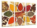 Quadro Su Legno, Spezie di colore in cucchiai bianchi, cucina, negozio, 97 x 62cm, Stampa in qualita fotografica. Ref. 26915