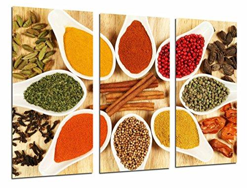 Quadro moderno fotografico spezie colorate in cucchiai bianchi, cucina, tenda, 97x 63cm, rif. 26915