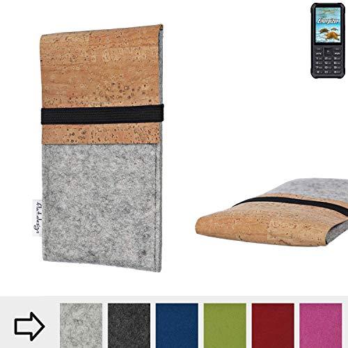 flat.design für Energizer H20 Schutzhülle Filztasche SAGRES mit Korklasche - passgenaue Schutz Tasche Handy Case aus 100% Wollfilz (hellgrau) für Energizer H20
