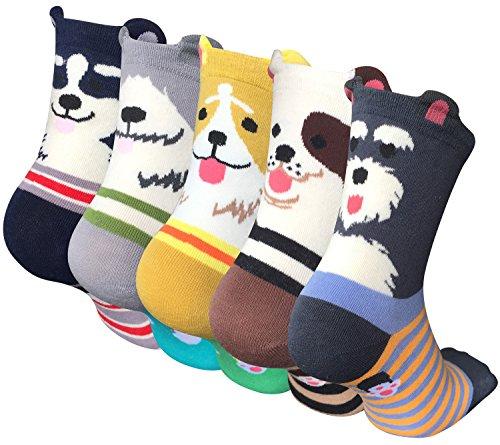 4 order 5 Paar Damen Baumwolle Socken mit Lustiger Tiere Malerei Kurz Lässige Mädchen Socken MEHRWEG - Damen Tier