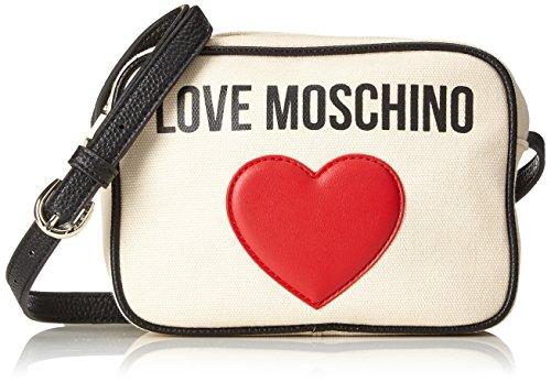 Love Moschino Damen Borsa Canvas Naturale und Pebble Pu Ner Baguette, beige (Natural Canvas-Black), 7 x 15 x 19 cm (Canvas Baguette)