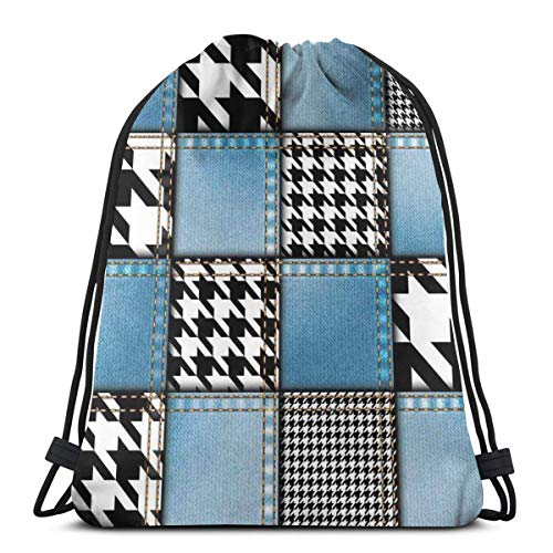 GONIESA Drawstring Backpack Unisex Bag For Gym Traveling, Digital Graphic with Denim Forms and Colored Minimalist Figures and Lines Print